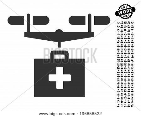 Drug Drone Delivery icon with black bonus people icon set. Drug Drone Delivery vector illustration style is a flat gray iconic element for web design, app user interfaces.