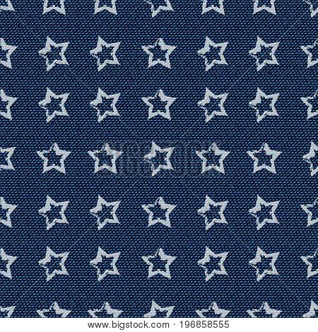 Dark blue jeans seamless texture. Denim background with stars. Can be used for wallpaper pattern fills web page background surface textures. Denim texture