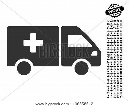Drug Shipment icon with black bonus work clip art. Drug Shipment vector illustration style is a flat gray iconic symbol for web design, app user interfaces.