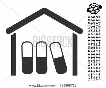Drugs Garage icon with black bonus people graphic icons. Drugs Garage vector illustration style is a flat gray iconic symbol for web design, app user interfaces.