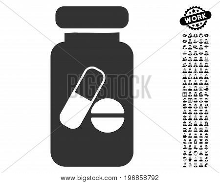 Drugs Phial icon with black bonus people images. Drugs Phial vector illustration style is a flat gray iconic element for web design, app user interfaces.
