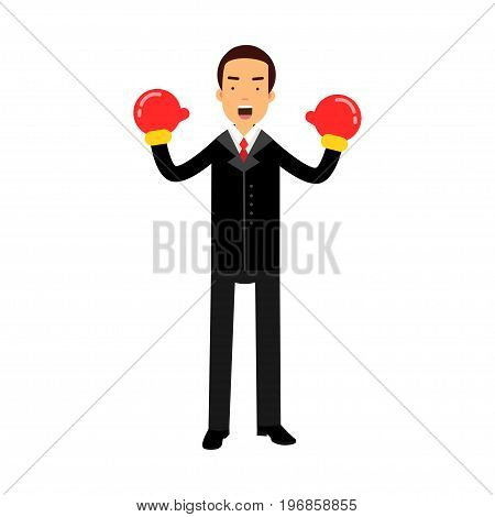 Businessman character in boxing gloves celebrating his win vector Illustration on a white background