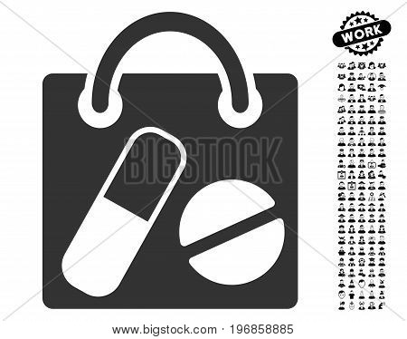 Drugs Shopping Bag icon with black bonus profession graphic icons. Drugs Shopping Bag vector illustration style is a flat gray iconic element for web design, app user interfaces.