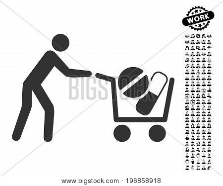 Drugs Shopping Cart icon with black bonus work pictograms. Drugs Shopping Cart vector illustration style is a flat gray iconic element for web design, app user interfaces.