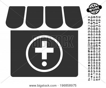 Drugstore icon with black bonus job icon set. Drugstore vector illustration style is a flat gray iconic symbol for web design, app user interfaces.