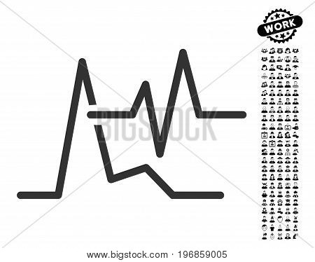 ECG icon with black bonus profession graphic icons. ECG vector illustration style is a flat gray iconic symbol for web design, app user interfaces.