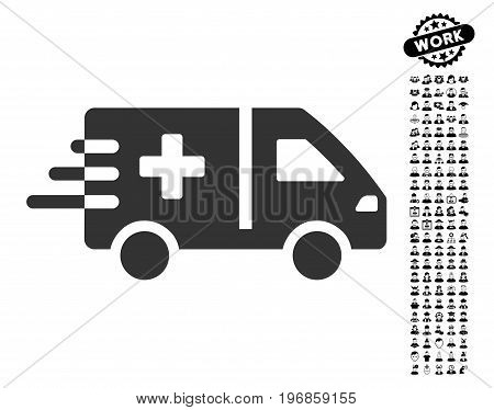 Emergency Car icon with black bonus people graphic icons. Emergency Car vector illustration style is a flat gray iconic element for web design, app user interfaces.