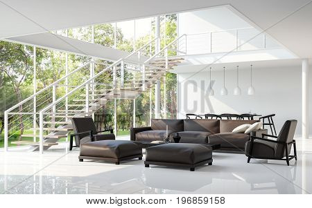 Modern white living room and dining room 3d rendering image.The room has a high ceiling A staircase is a steel structure.There are large windows look out to see the nature