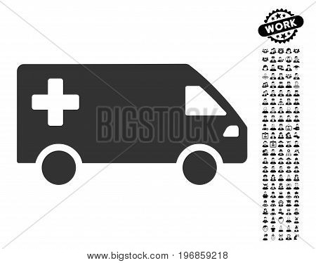 Emergency Van icon with black bonus professional images. Emergency Van vector illustration style is a flat gray iconic element for web design, app user interfaces.