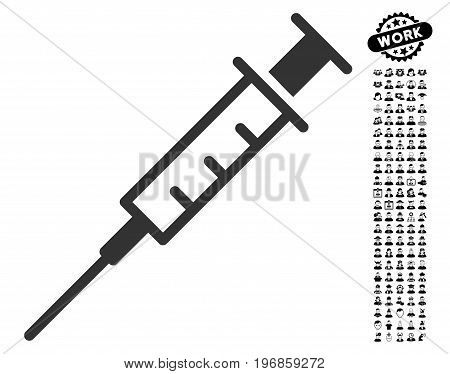 Empty Syringe icon with black bonus profession images. Empty Syringe vector illustration style is a flat gray iconic element for web design, app user interfaces.