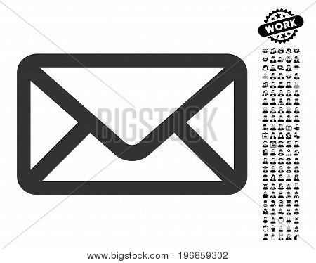 Envelope icon with black bonus people pictures. Envelope vector illustration style is a flat gray iconic element for web design, app user interfaces.