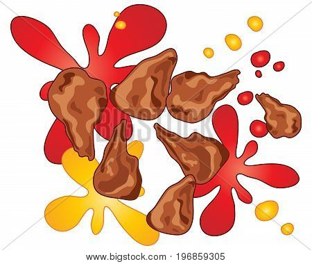 an illustration of crispy deep fried chicken wings with sauce splashes on a white background