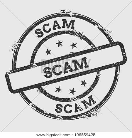 Scam Rubber Stamp Isolated On White Background. Grunge Round Seal With Text, Ink Texture And Splatte