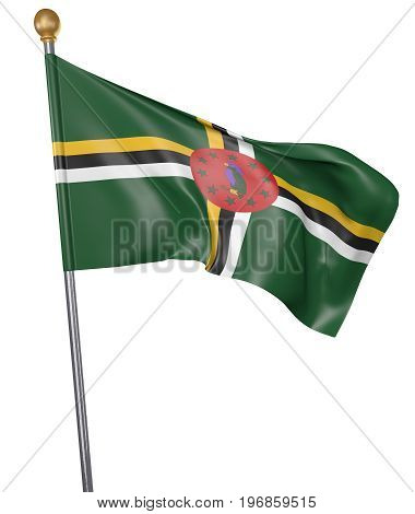 National flag for country of Dominica isolated on white background, 3D rendering