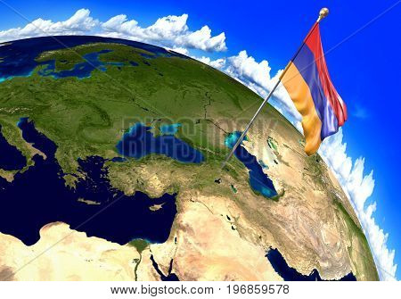 Armenia national flag marking the country location on world map. 3D rendering, parts of this image furnished by NASA