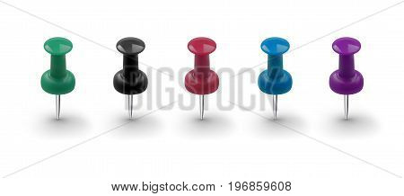 Set of realistic push buttons of different colors isolated on white background. Vector illustration
