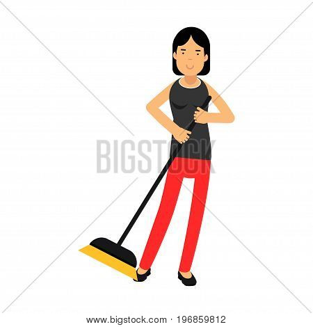 Beautiful young brunette woman housewife sweeping the floor, home cleaning and homework vector Illustration on a white background