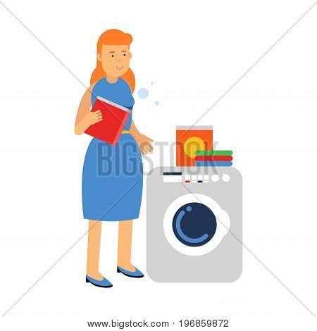 Beautiful young redhead woman doing laundry, holding box of washing powder next to washing machine, home cleaning and homework vector Illustration on a white background