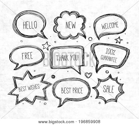 Hand-drawn speech and thought bubbles on rice paper background. Vector sketch illustration