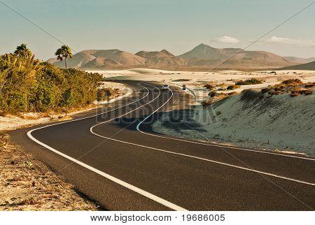 Desert Road in Corralejo, Spain