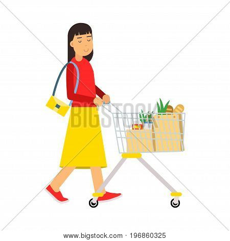Beautiful young brunette woman with shopping cart, shopping in the supermarket vector Illustration on a white background