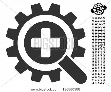 Find Medical Technology icon with black bonus people images. Find Medical Technology vector illustration style is a flat gray iconic element for web design, app user interfaces.