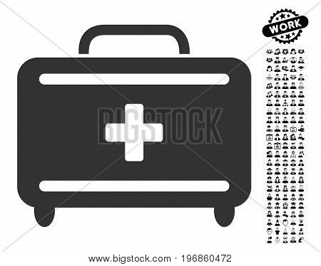 First Aid Toolkit icon with black bonus work pictograms. First Aid Toolkit vector illustration style is a flat gray iconic symbol for web design, app user interfaces.
