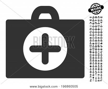 First Aid icon with black bonus profession symbols. First Aid vector illustration style is a flat gray iconic element for web design, app user interfaces.
