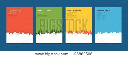 Minimal covers design set, City buildings and real estate concept, Vector modern background to brochure, annual report, flyer - leaflet, magazine, poster, corporate, portfolio, banner, website.