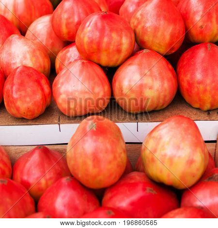 Ripe red tomatoes on a market stall close up. Summer tray market agriculture farm full of organic tomatoes. Fresh tomatoes.