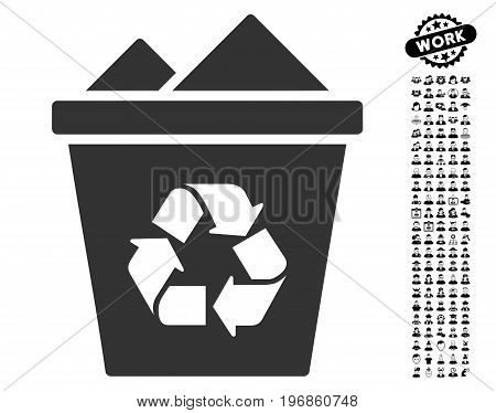 Full Recycle Bin icon with black bonus job images. Full Recycle Bin vector illustration style is a flat gray iconic symbol for web design, app user interfaces.