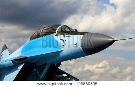 Front of the russian fighter with the cockpit