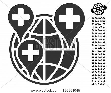 Global Clinic Company icon with black bonus profession design elements. Global Clinic Company vector illustration style is a flat gray iconic element for web design, app user interfaces.
