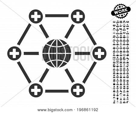 Global Medical Network icon with black bonus profession icon set. Global Medical Network vector illustration style is a flat gray iconic element for web design, app user interfaces.