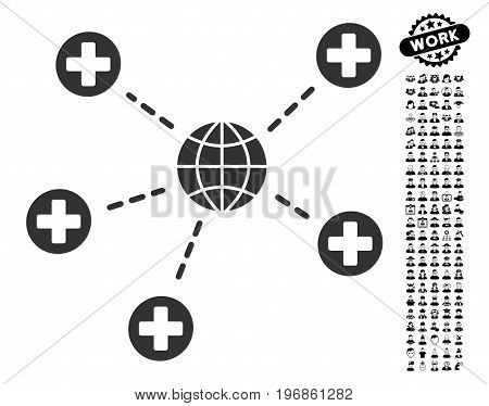 Global Medical Relations icon with black bonus professional symbols. Global Medical Relations vector illustration style is a flat gray iconic element for web design, app user interfaces.