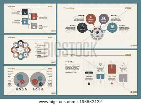 Infographic design set can be used for workflow layout, diagram, annual report, presentation, web design. Business and management concept with process charts.