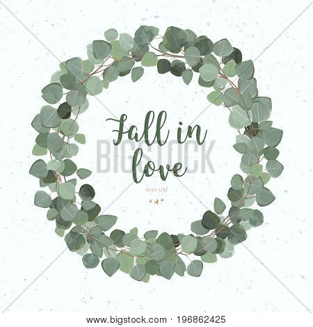 Eucalyptus Leaves vector round green leaf wreath branch foliage card design. Winter beautiful lovely elegant watercolor delicate illustration