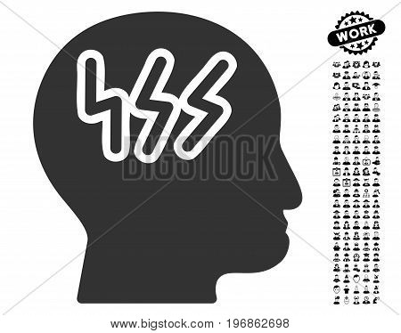 Headache icon with black bonus work pictures. Headache vector illustration style is a flat gray iconic element for web design, app user interfaces.