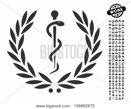 Healh Care Emblem icon with black bonus professional symbols. Healh Care Emblem vector illustration style is a flat gray iconic symbol for web design, app user interfaces.