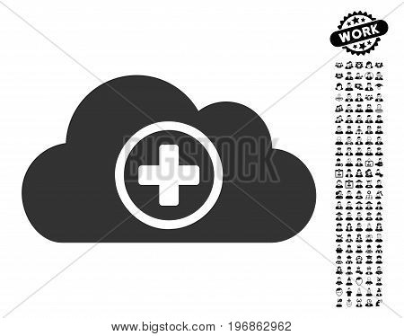 Health Care Cloud icon with black bonus people design elements. Health Care Cloud vector illustration style is a flat gray iconic symbol for web design, app user interfaces.