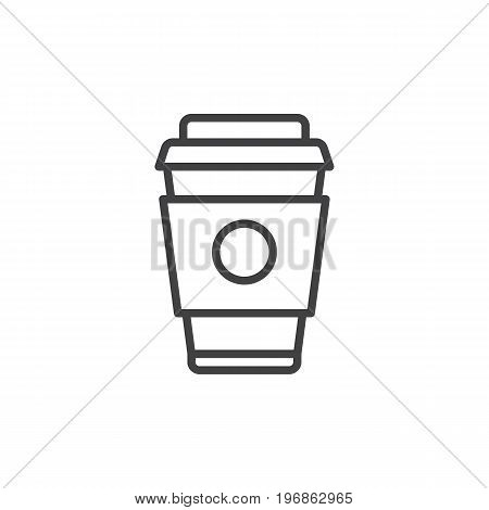 Paper coffee cup line icon, outline vector sign, linear style pictogram isolated on white. Symbol, logo illustration. Editable stroke. Pixel perfect vector graphics