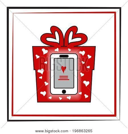 Smartphone in a red box. The concept: a fashionable gift love online shopping.