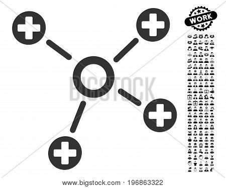 Health Care Links icon with black bonus people design elements. Health Care Links vector illustration style is a flat gray iconic symbol for web design, app user interfaces.