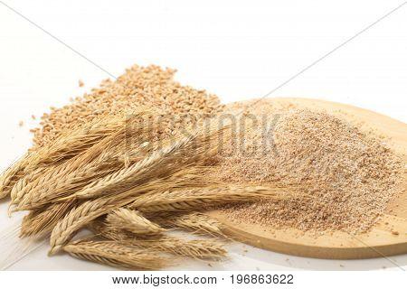 Wheat flour with bran and grain ears