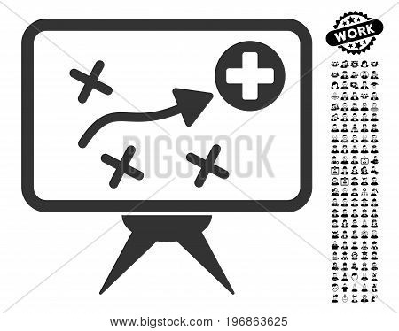Health Strategy icon with black bonus professional symbols. Health Strategy vector illustration style is a flat gray iconic symbol for web design, app user interfaces.