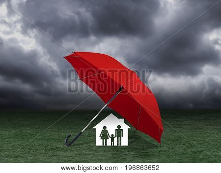 red umbrella covering home and family under rain, insurance concept