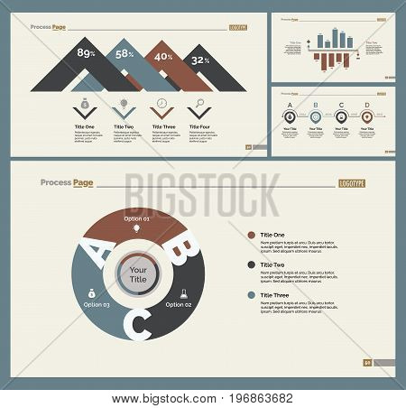 Infographic design set can be used for workflow layout, diagram, annual report, presentation, web design. Business and accounting concept with process and percentage charts.