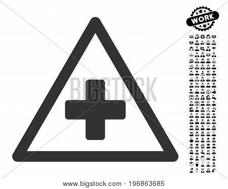 Health Warning icon with black bonus professional pictograph collection. Health Warning vector illustration style is a flat gray iconic symbol for web design, app user interfaces.