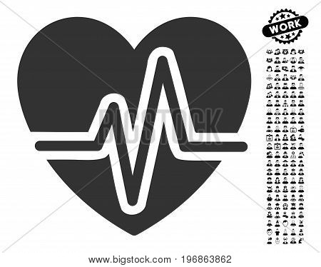 Heart Diagram icon with black bonus people graphic icons. Heart Diagram vector illustration style is a flat gray iconic element for web design, app user interfaces.