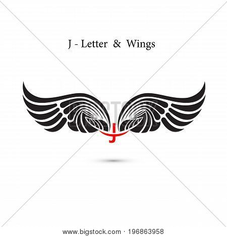 J-letter sign and angel wings.Monogram wing logo mockup.Classic emblem.Elegant dynamic alphabet letters with wings.Creative design element.Corporate branding identity.Flat web design wings icon.Vector illustration.
